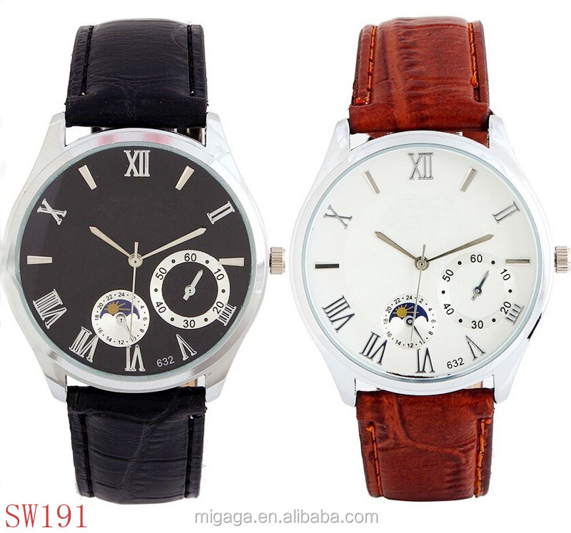 5 pointers moon phase function Roman number stainless steel watch case 316l