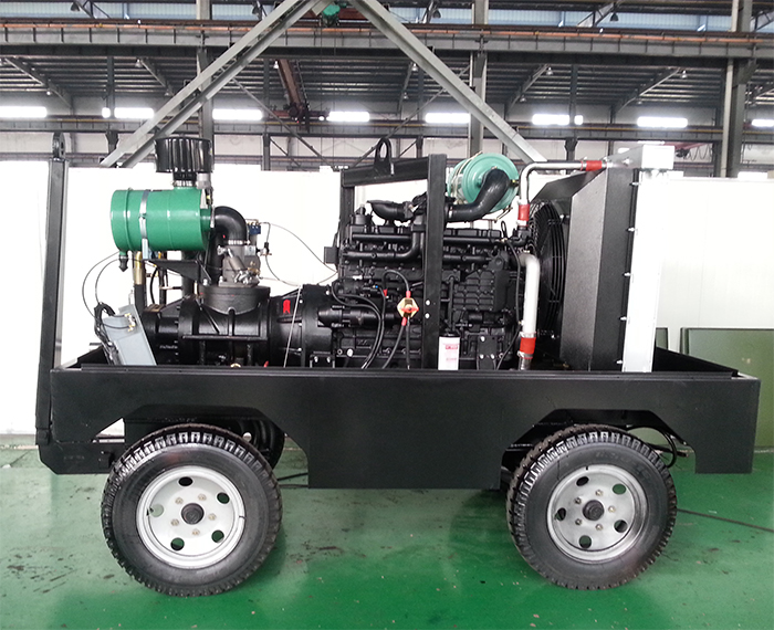Movable China diesel rotary screw 30 bar air compressor