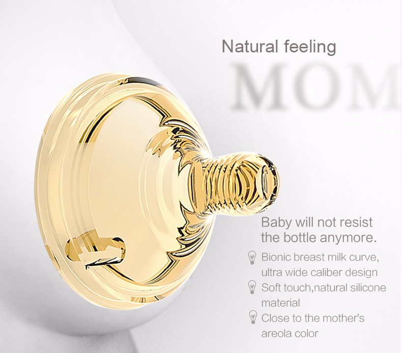 Wholesale BPA Free 6OZ Antibacterial Anti Colic breast shaped Feeding Bottle Baby Feeding Bottle With thermometer