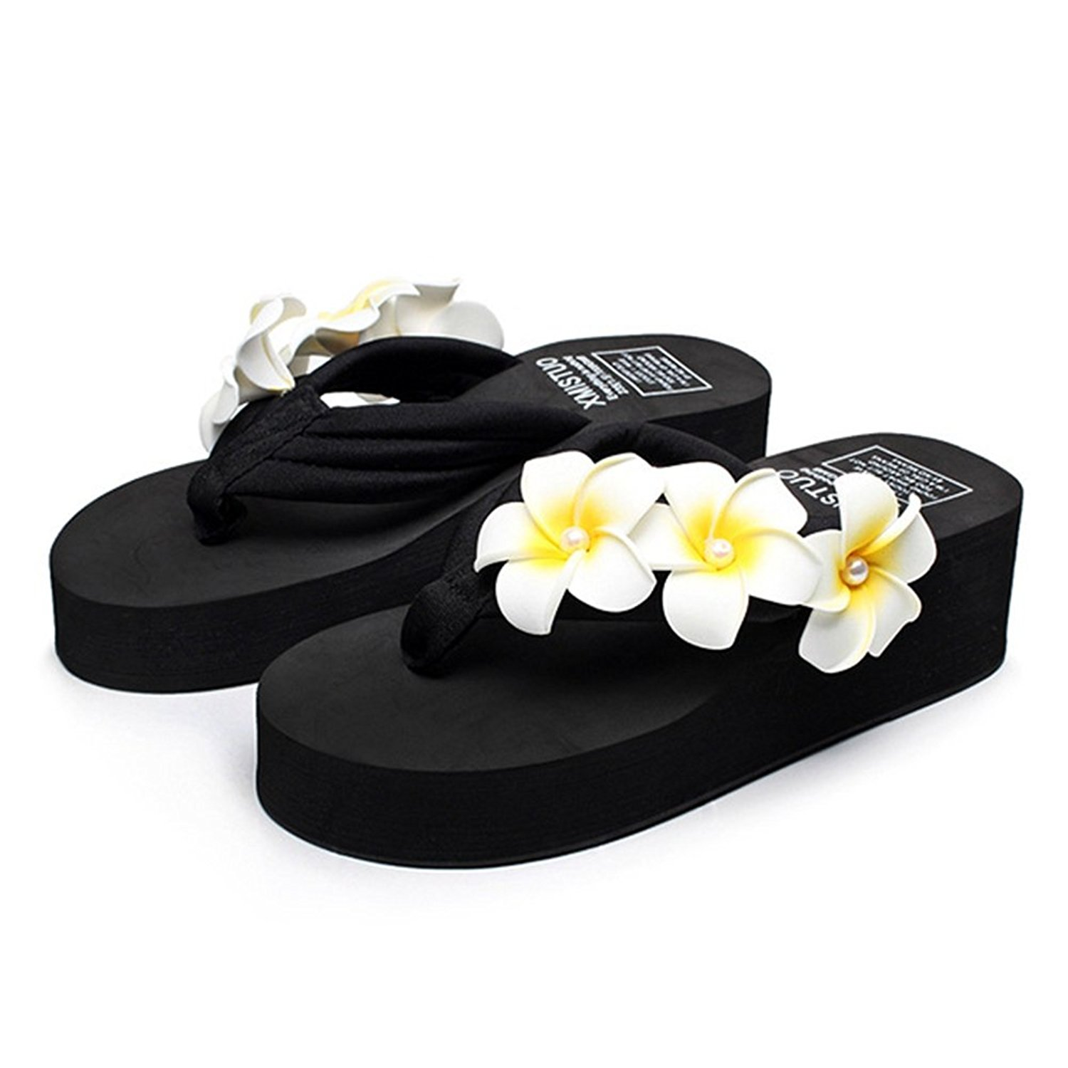 3fea328ef5f Get Quotations · AVENBER Womens Flip Flop Mid Heel Sandals Plumeria Beach  Thongs Anti Skid Platform Slippers