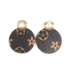 Colorful Fashion Bag Flower Hollow Round Leather Earrings