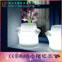 16 colors changed Rechargeable Battery indoor decration Lighting Tree Pots led flower pot