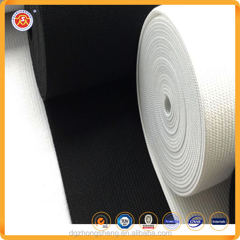 Manufacturer black and white wide elongation foldover gripper elastic webbing