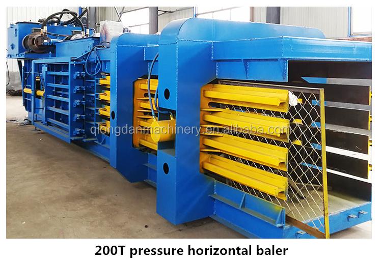 Horizontale hydraulische afval papier balenpers bail compactor machine voor plastic film wol katoen