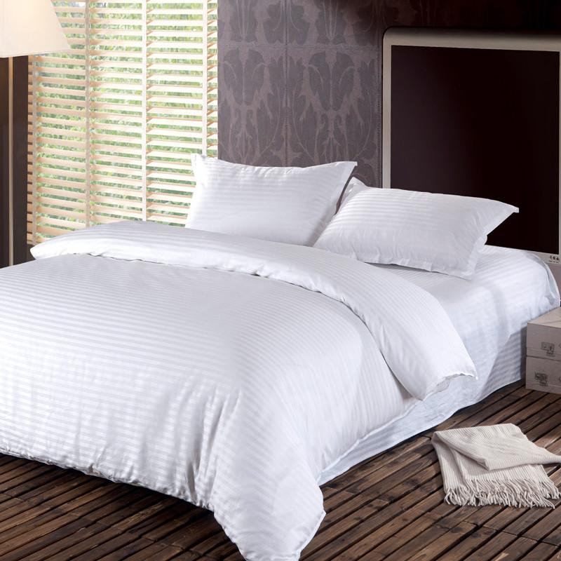 hotel cotton satin stripe comforter bedding set full plain simple duvet cover set 3pcs housse de. Black Bedroom Furniture Sets. Home Design Ideas
