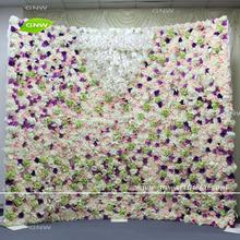 GNW FLW1708006-3 Customized colorful fabric overlays flower wall for wedding