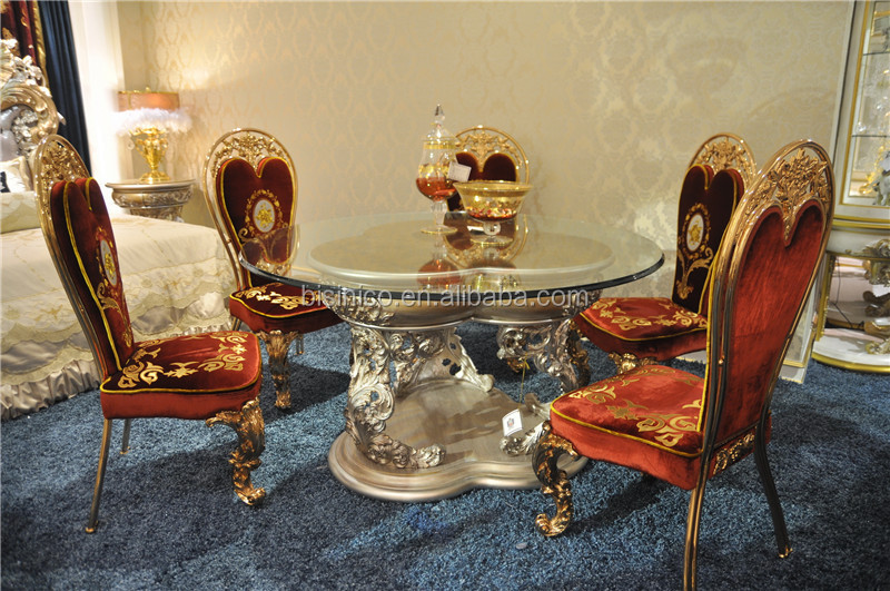Italian Reproduction Glass Top Round Dining Table Set