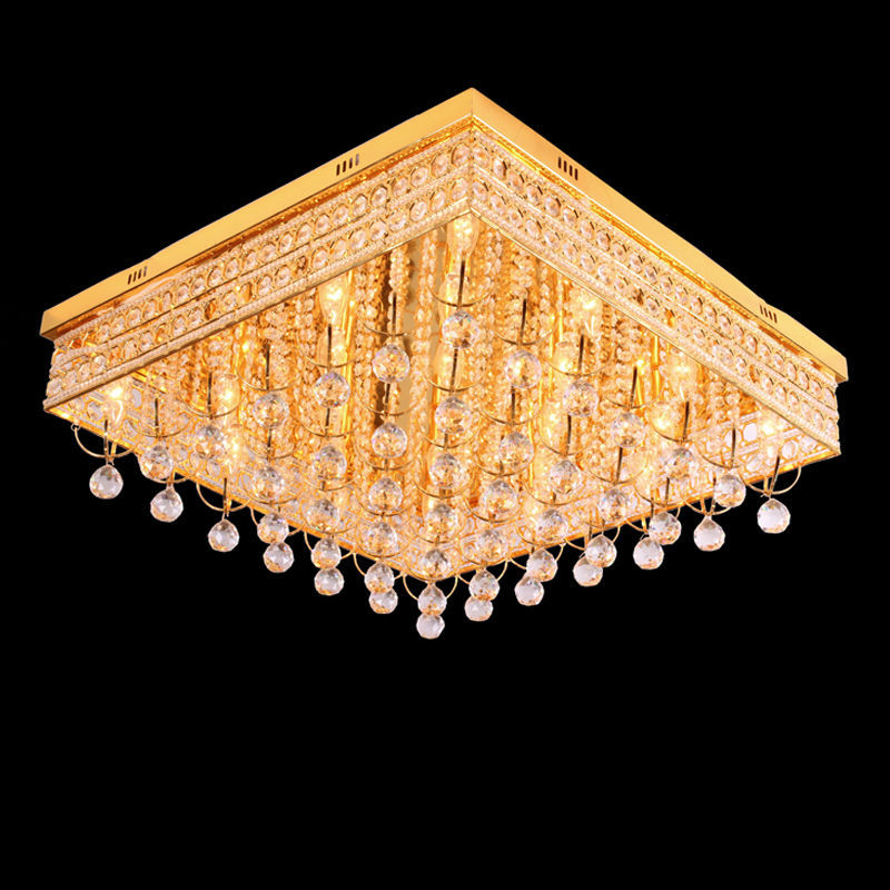 Fancy Square Surface Led Ceiling Flush Mount Crystal Light