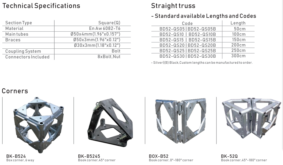 530 mm Square truss Aluminum Frame Bolt Truss Structure System