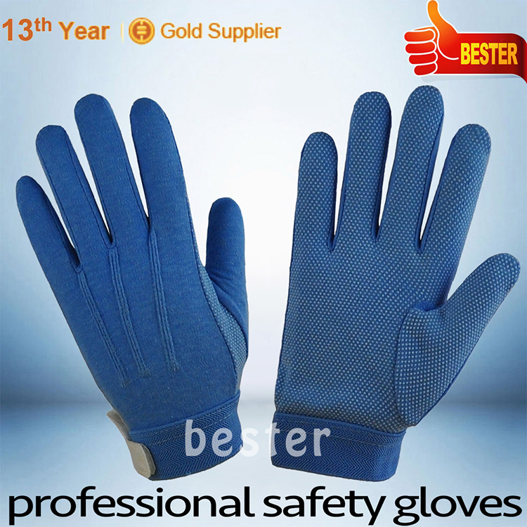 New style good quality pvc dots on palm blue cotton glove