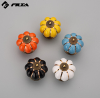 Wholesale small vintage pumpkin india ceramic cabinet knobs for drawer