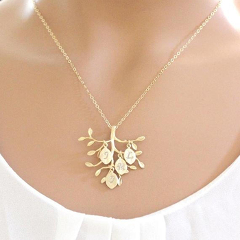 14k Gold Plated Family Tree Necklace Personalized Letter Pendant