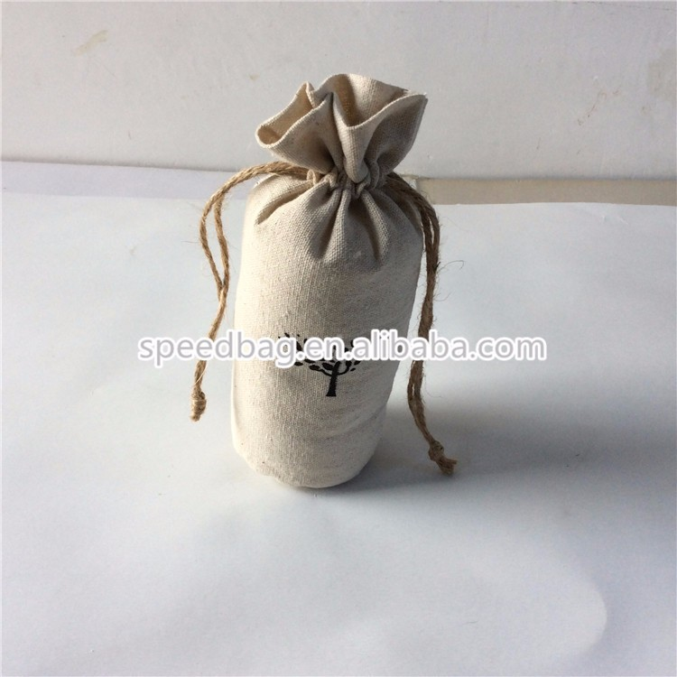custom cheap jute round drawstring bag with jute rope dried flowers draw string pouch