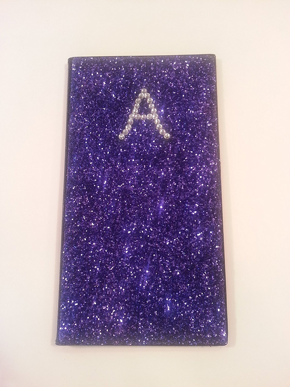 Glitter Waitstaff Organizer Server Book (Front Glittered with 1 Rhinestone Initial)