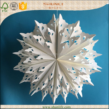 christmas decoration hanging handmade paper origami flower - Handmade Paper Christmas Decorations
