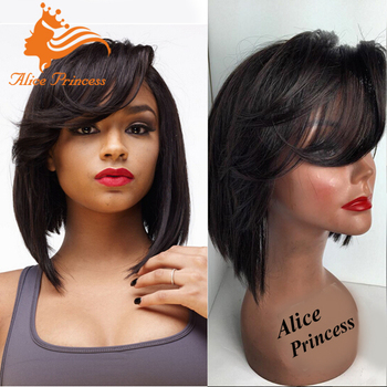 100 Percent Human Hair Low Density Full Lace Wig Bob Style Straight Short  Hair Wig Price 0bf0cdfd24c2