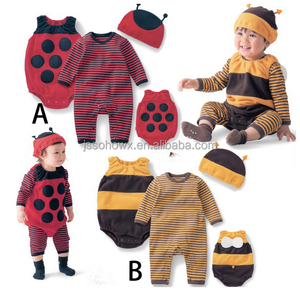 2016 hot sale lovely style 3pcs cotton romper suit for babies