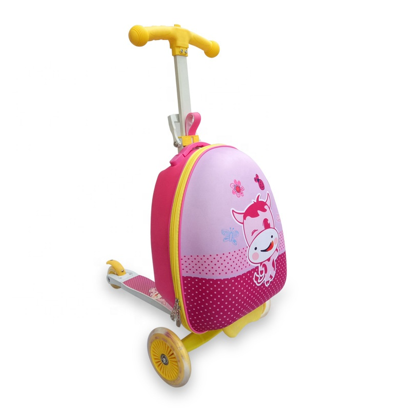 Kids 3 Wheels Folding Scuitcase Bag Children Trolley Scooter Luggage