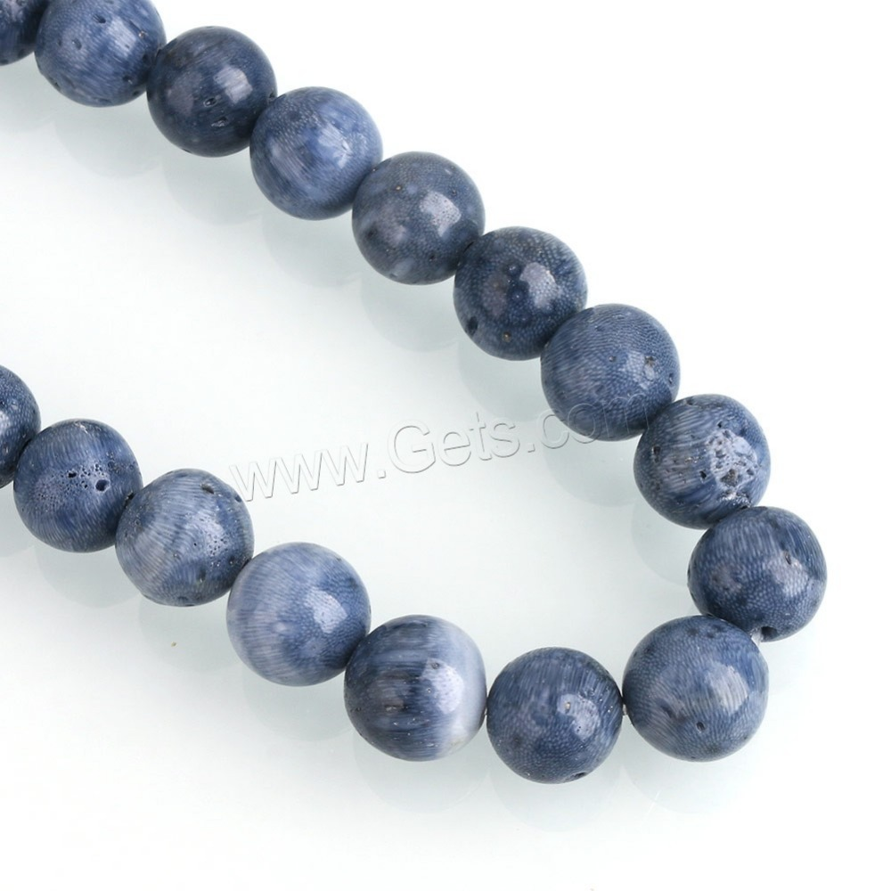 Latest design beads different size natural round blue coral beads