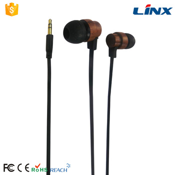 Flat Cable 3.5mm Stereo Wood Earphone Stereo Wood Earbuds Wholesale