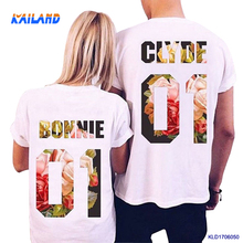 Men summer couple t shirt for lovers Bonnie and Clyde short sleeve brushed cotton t-shirts Valentine Day gift t-shirt