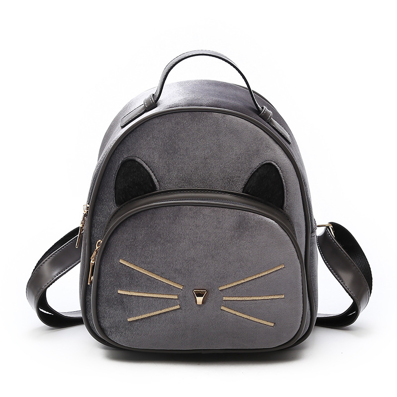 Velvet 3D Ears PU Backpacks Woman Cat Girl Travel Backpack