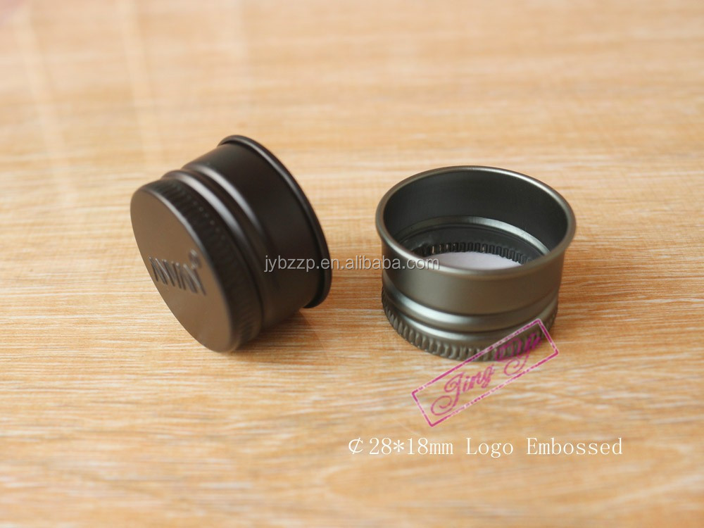 aluminum cap 28mm black metal lid for spice jar