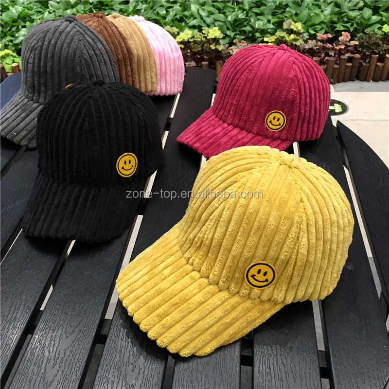2018 New Product Stocking 7 Colors Fashion Adult Women Smile Face Corduroy Baseball Caps