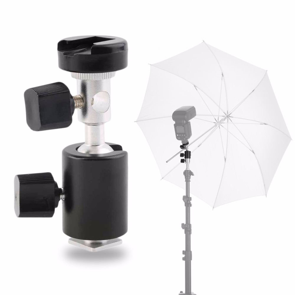 Universal 360 Degree Camera Flash Hot Shoe Adapter Umbrella Holder Swivel Light Stand Bracket Type C Photography Accessory Black