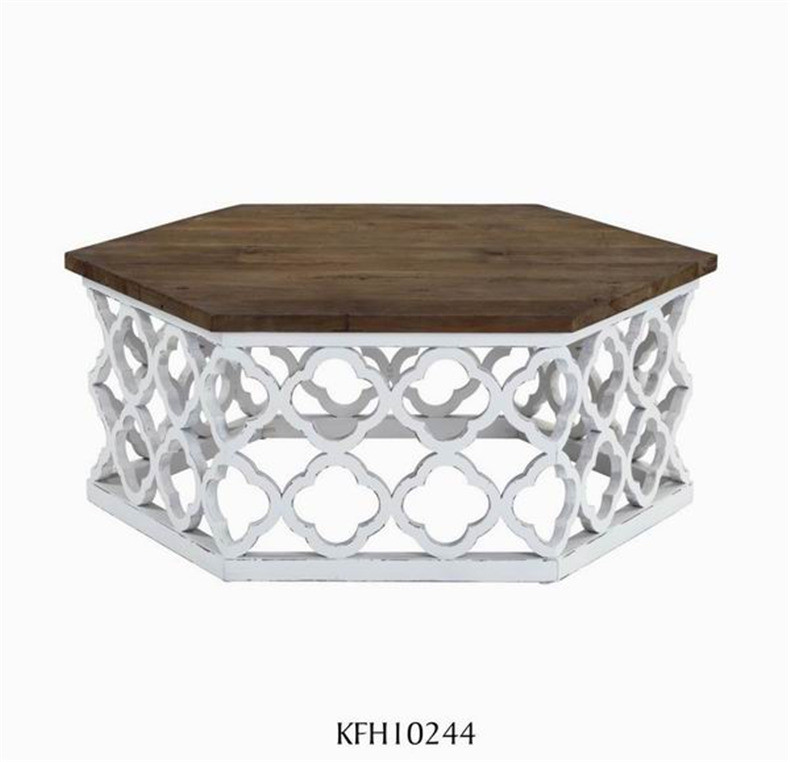 wholesale solid wood coffee table with white carved base, hexagon