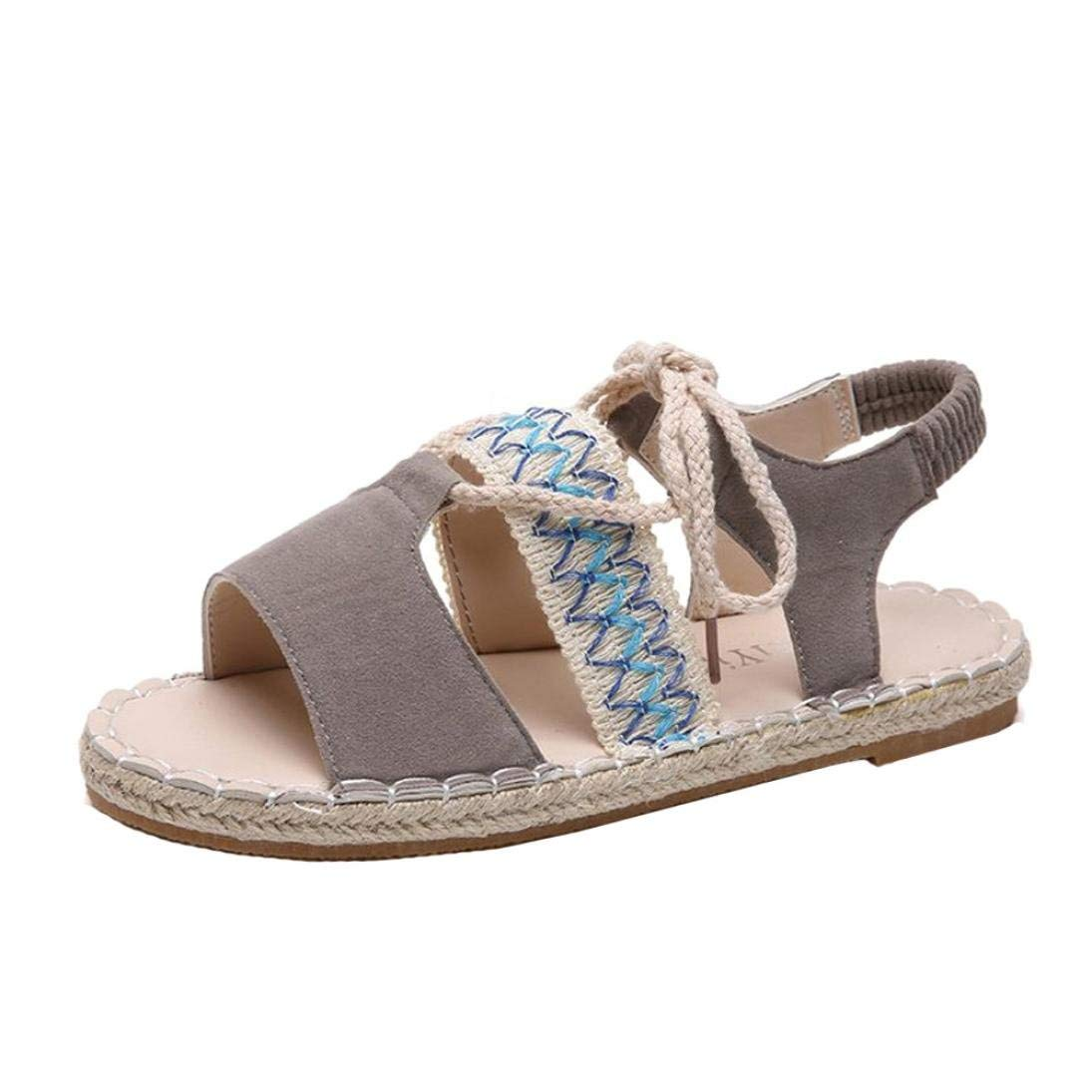 Sunshinehomely Fashion Women Girls Rome Sandals Bandage Ankle Strap Flat Bottom Espadrilles Sandals