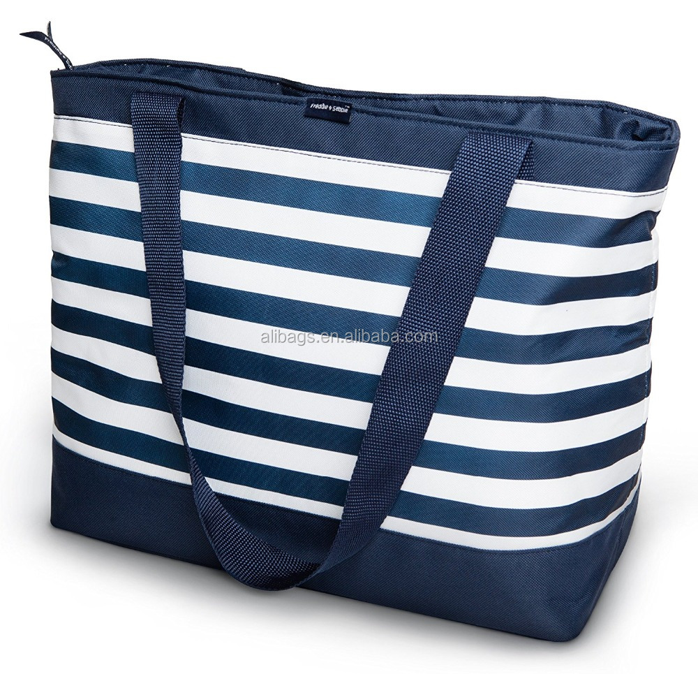 600D Strip beach outdoor insulated lunch Cooler tote Bag