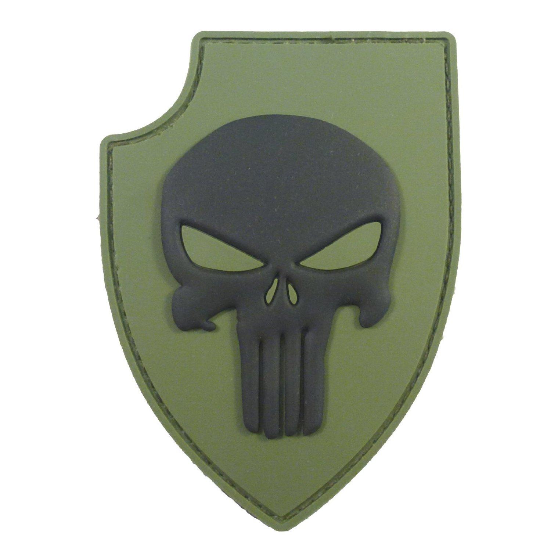 Olive Drab Green PVC 3D Rubber Punisher Skull USA Sealteam DEVGRU Glow Dark Velcro Patch