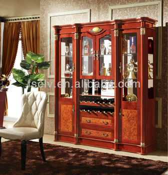 Foshan Furniture Manufactory, Vintage Wooden Glass Living Room Showcase  Design Part 10