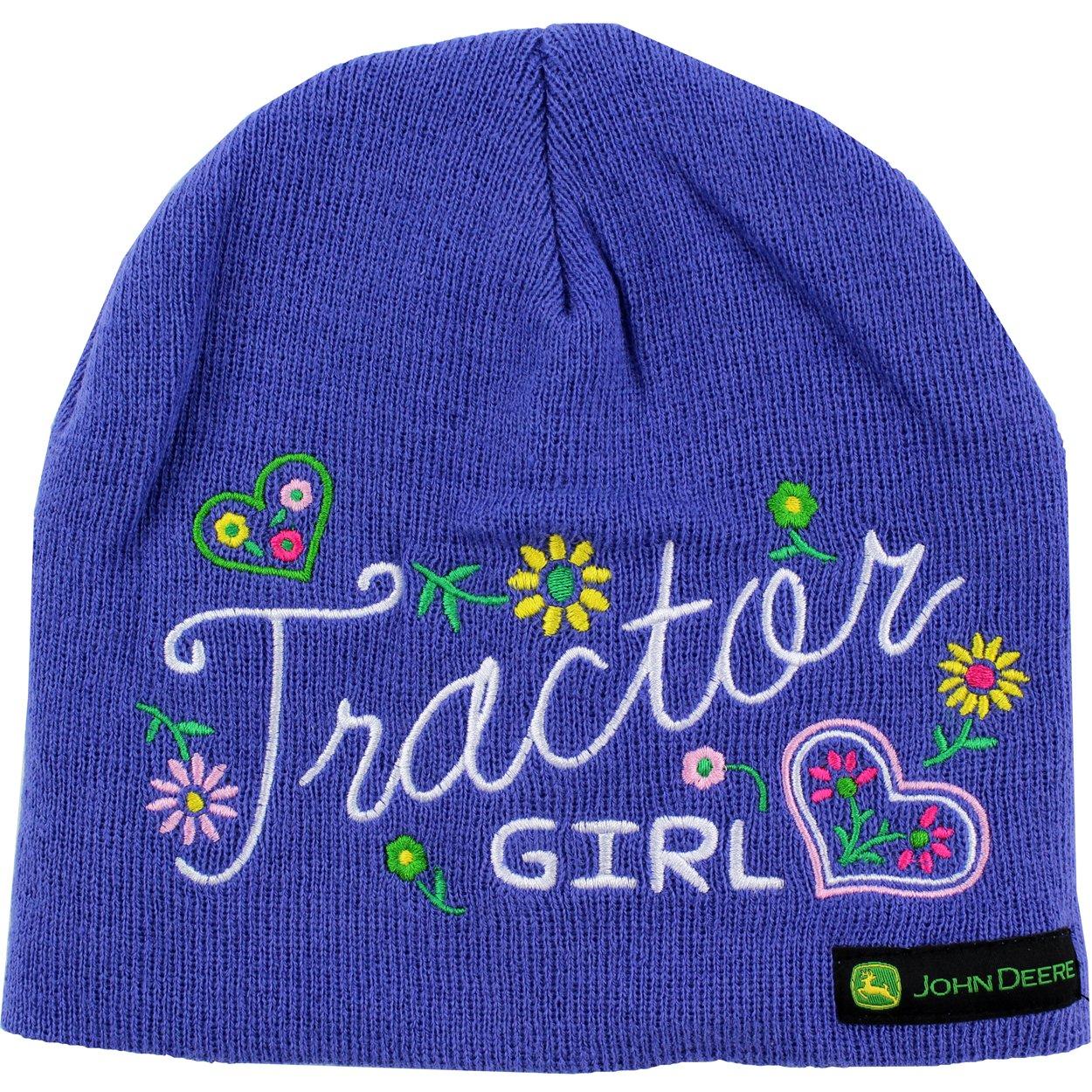 "John Deere ""Tractor Girl"" Purple Knit Beanie Hat O/S Youth"