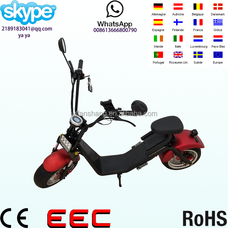 2017 citycoco/2 wheel self balancing mobility with head stern light and horn electric scooter covered