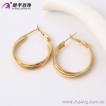 91094 Saudi Gold Jewelry Earring Simple Daily Wear Designs Three Wire Hoop Earrings