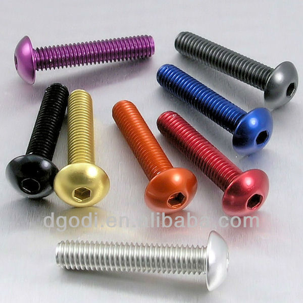 color anodized aluminum carriage dome head bolts