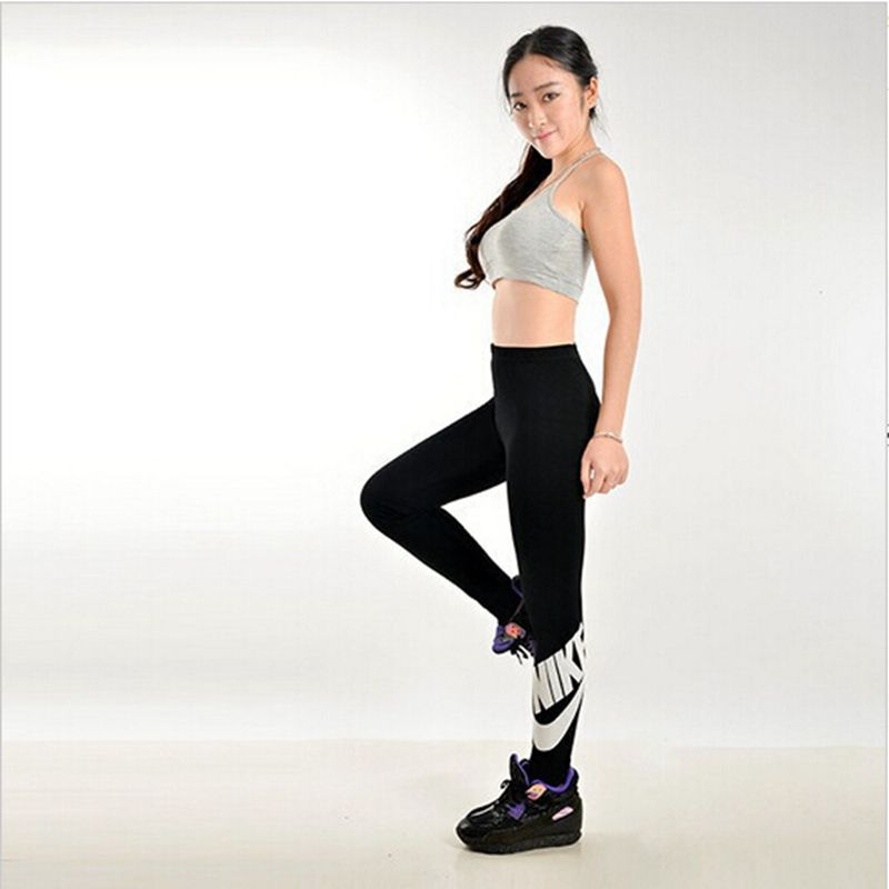 2015 New Spring And Autumn Women s Leggings Running Sport Fitness WorkOut Gun Letter Printed Trousers