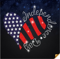 "Rhinestone Transfer "" 4th of July Heart "" American Flag, Hotfix, Bling, Iron-On (67)"