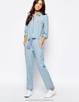 newest e6cad d173e 2016 100% Cotone Di Colore Chiaro Denim Lavato Tute Maniche Lunghe Custom  Design Nuovo Modello Di Jeans Tute - Buy Modello Tuta,Jeans,Tute Product on  ...