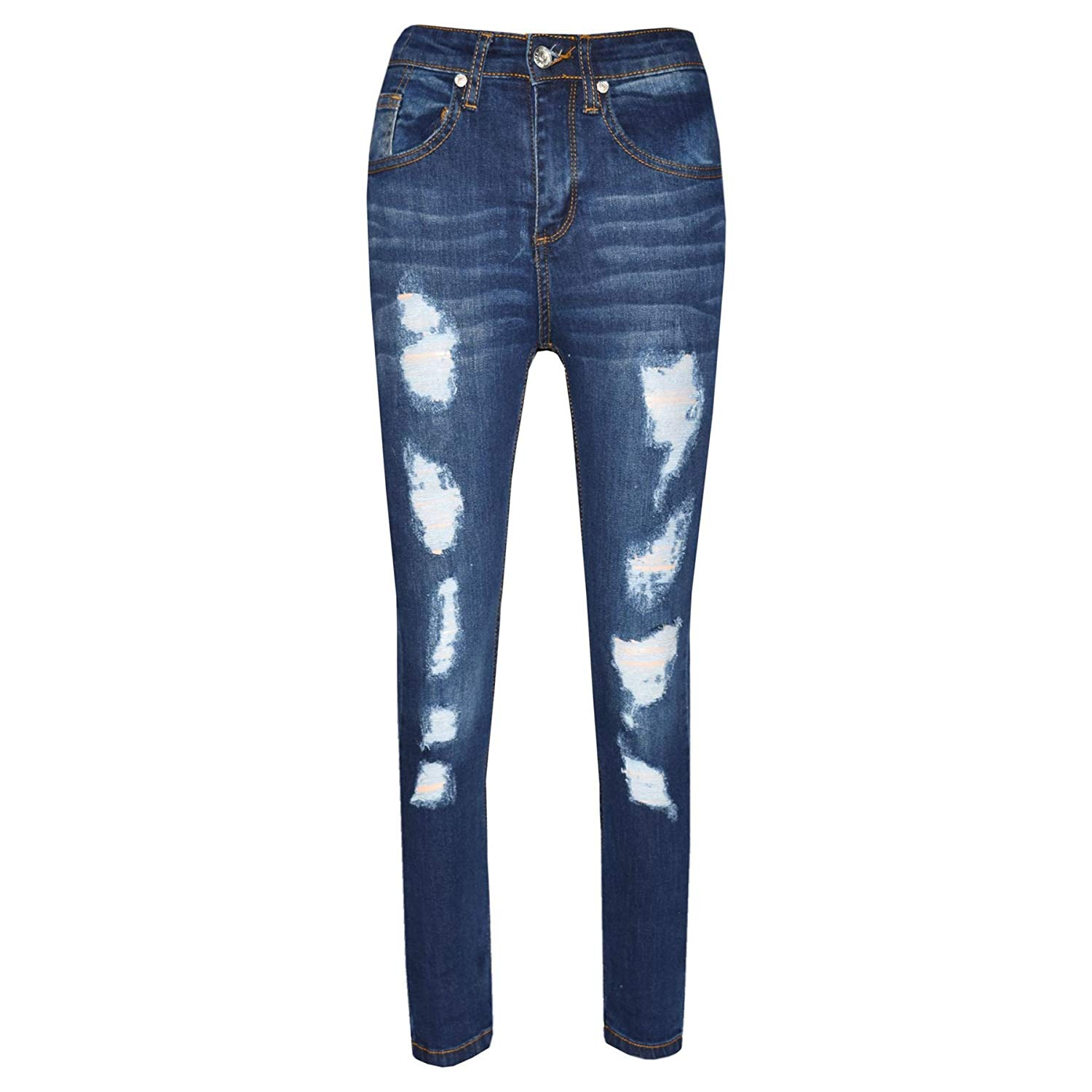 5ea1a61160d Get Quotations · Boys Stretchy Jeans Kids Ripped Dark Blue Denim Skinny  Pants Trousers 5-13 Years