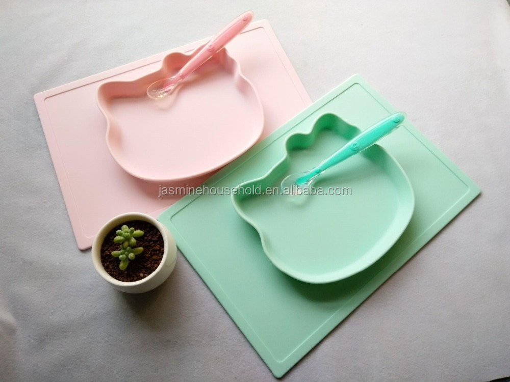 HOT Sale 100% Food Grade BPA Free Baby Feeding Silicone table plate mat
