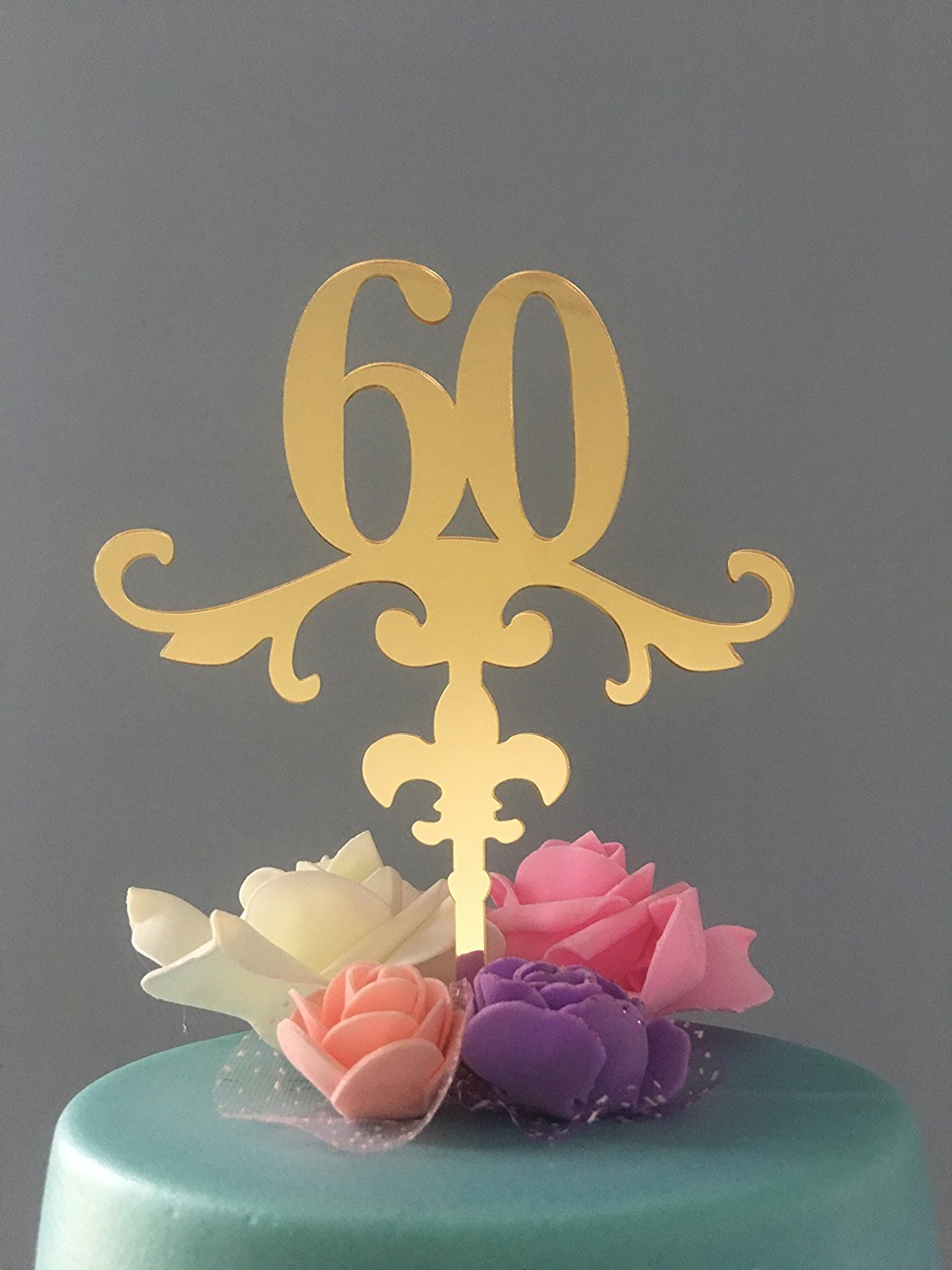 Get Quotations ShinyBeauty Cake Topper Birthday 60thGold Happy TopperAge