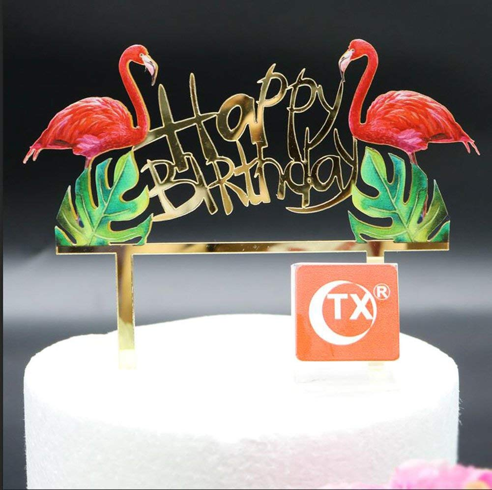 Get Quotations Flamingo Birthday Cake Toppers Decoration Glitter One Tropical Hawaiian Luau Themed Party Supplies