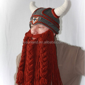 W-161 Crocheted Horned Beard Viking Hat For Teens And Adult - Buy ... 1d130767d95