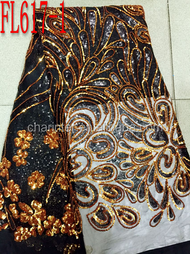 sales well velvet lace african organza lace fabric FL617