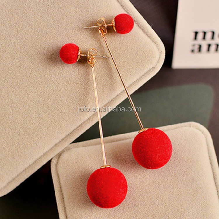 Women Long Pin Dangle Pom Pom Ball Drops Earrings Cute Lady Faux Fur Ball Stud Earrings