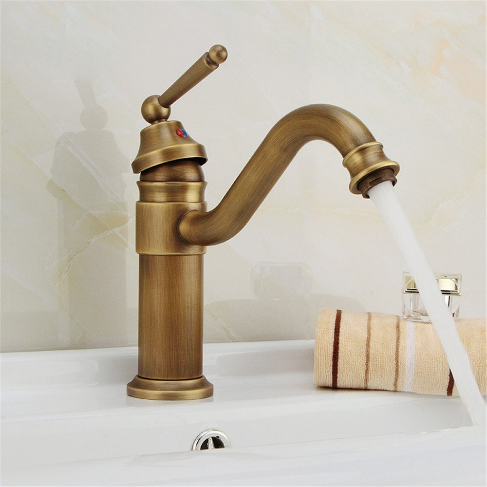 FHLYCF European style modern all copper retro bathroom, hot and cold faucet heightening, single hole, basin basin, basin faucet,B