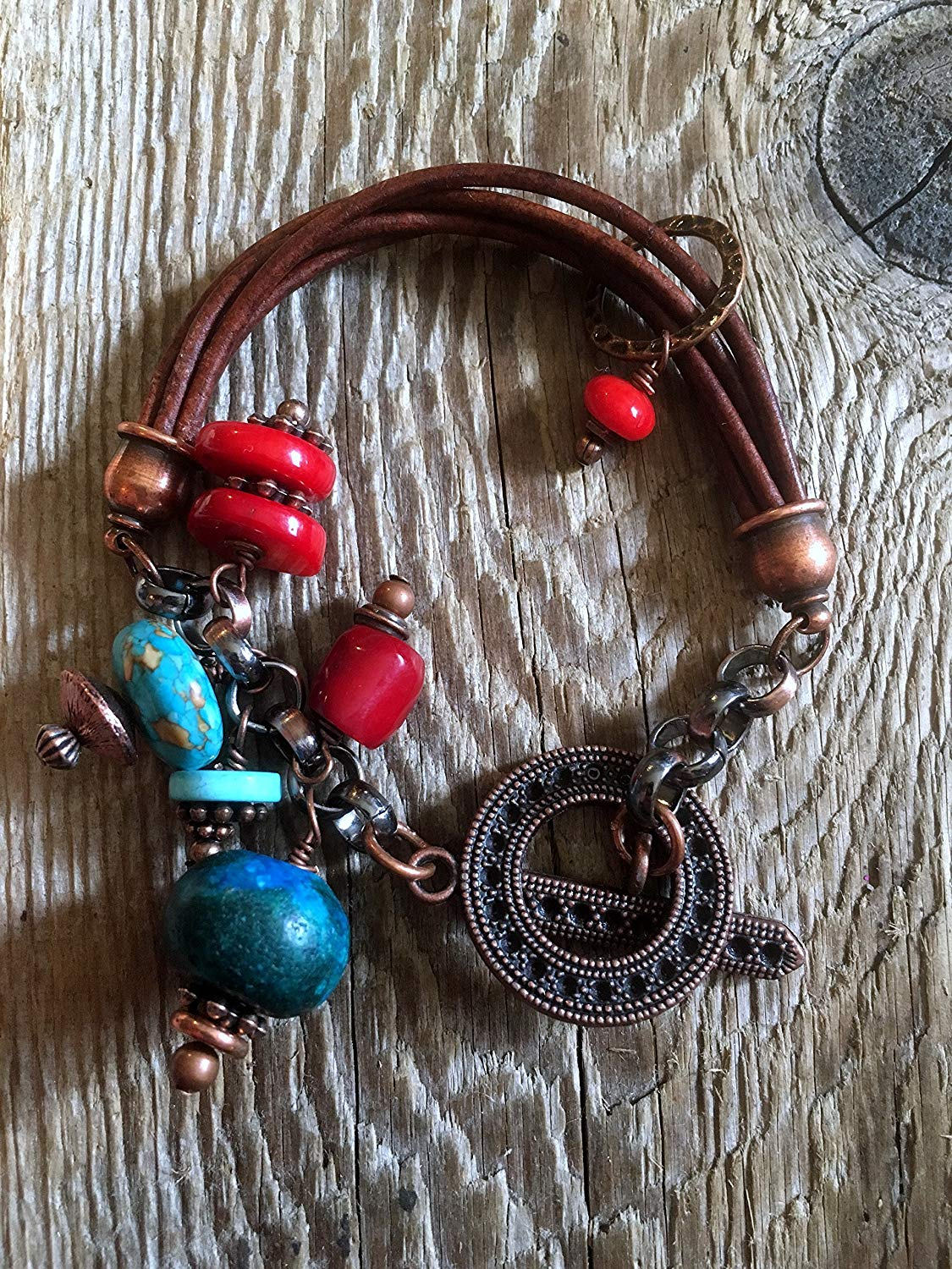 Boho Turquoise Bracelet/02 Mixed Media of Turquoise, Copper, Red Coral and Natural Hand Tanned Leather with an Antique Copper Large Toggle Clasp.